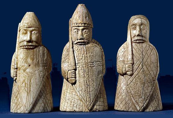 Three of the Lewis chess pieces