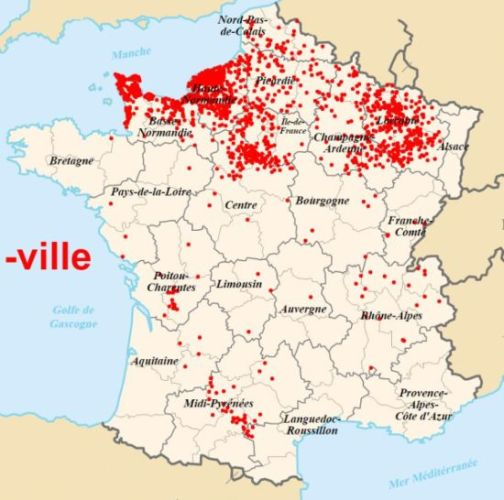The spread of place names with the suffix -ville in France