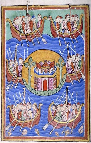 Vikinger on their way to  England i Life of St. Edmund