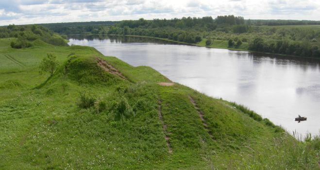 Viking burial mounds along the Volkov River near Staraya Ladoga