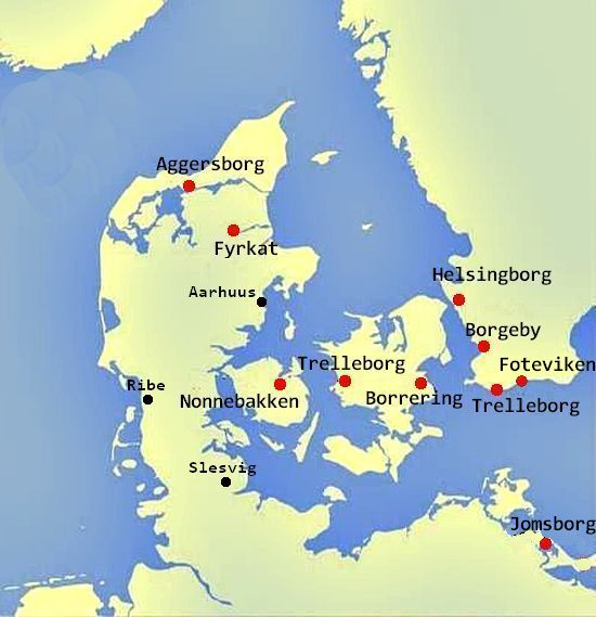 Map of Viking ring fortresses