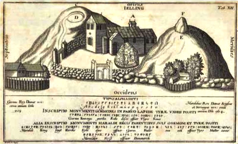 Copper engraving of Jelling 1591