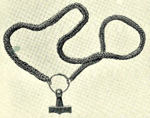Silver chain with Thor Hammer excavated in Trelleborg