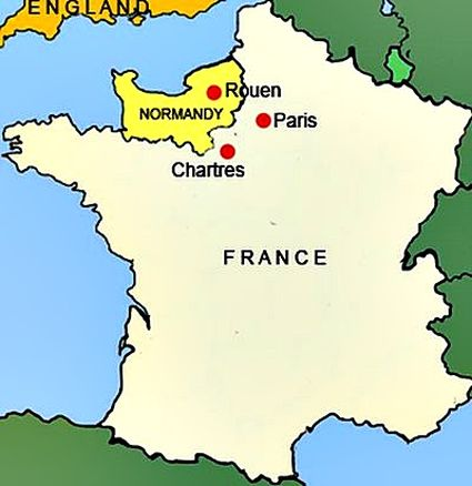 Map of France showing Normandy
