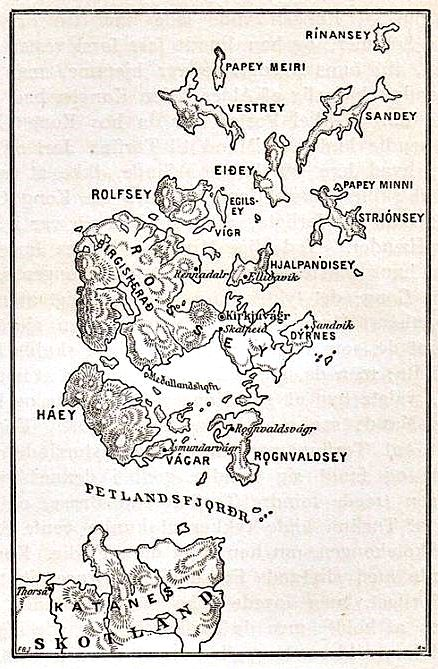 Orkney map with old names of Nordic origin
