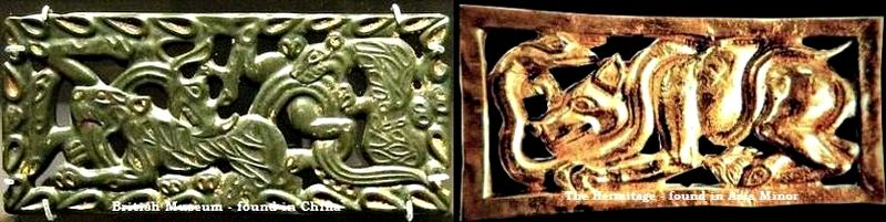 The motif animals fighting snake from China and Asia Minor
