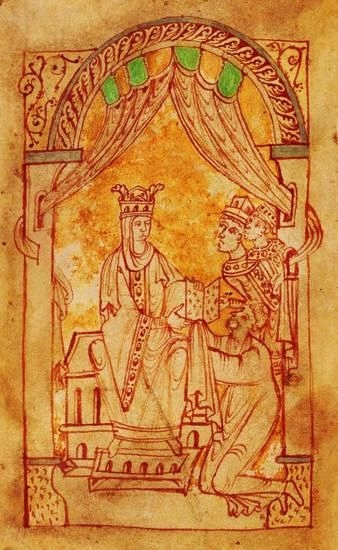 Emma receives Encomium Emmæ Reginæ