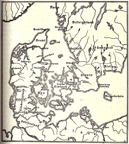 Denmark at Snorre's time from Heimskringla national edition
