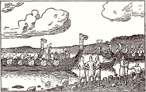 Ejnar Tambeskjælver and his men visit Samsø with Magnus' corpse