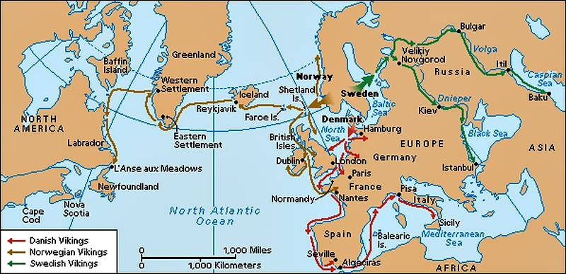 Sailing routes in the Viking Age