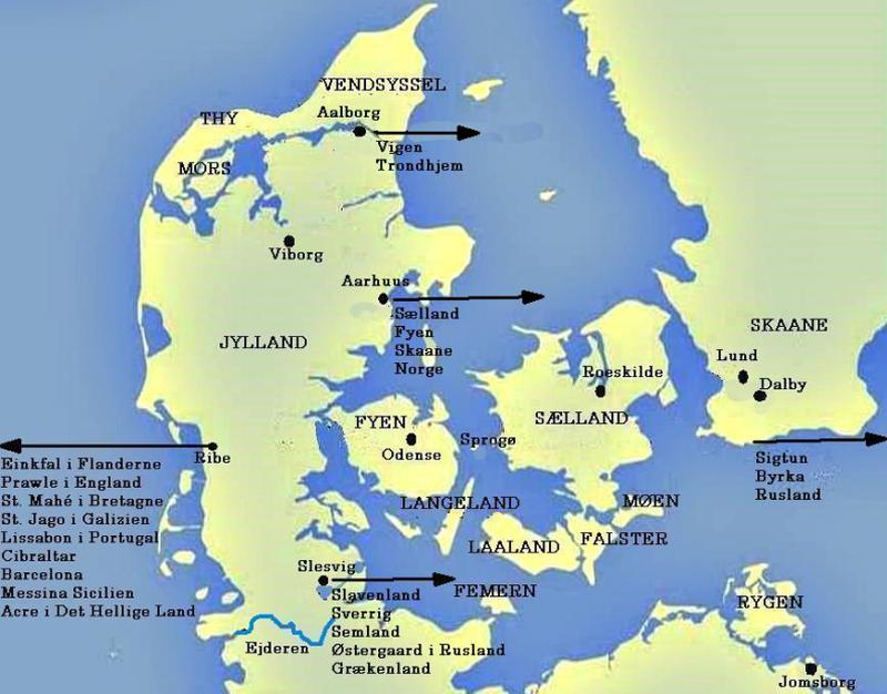 Danish cities, provinces, islands and sea routes