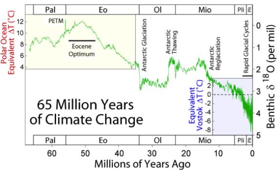 Climate changes during 65 mill. years