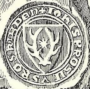 Jens Grand's seal  with red deer antlers and eight-pointed star