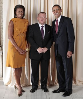 Lars Løkke Rasmussen together with President Obama and his wife