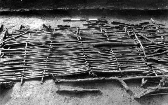 Wilow braided part of house side from early English Neolithic found at the Somerset Levels