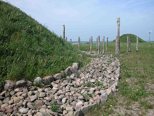 Reconstructed stone paving around a Bronze Age mound near Borum Eshøj