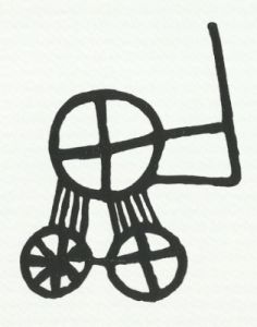 Petroglyph from Backa in  Brastad parish in Bohuslen, which can imagine a sun symbol placed on a cart with four wheels