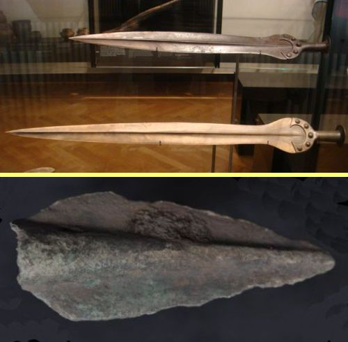 Bronze Age swords and bronze arrowhead