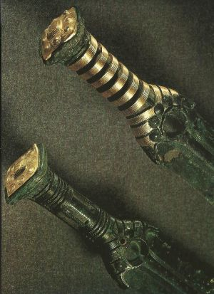 Gold-plated Bronze Age swords