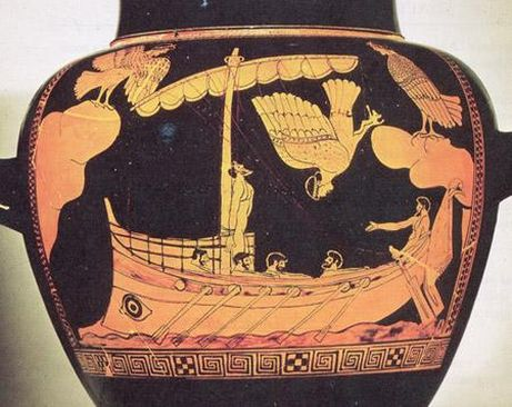 Odysseus on his ship
