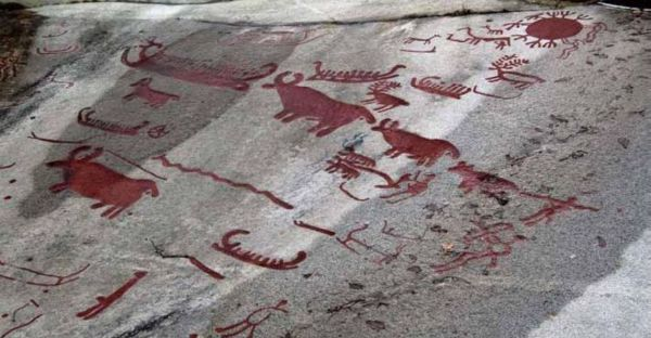 Rock carvings at Aspebjerget near Tanumhede in Bohuslen