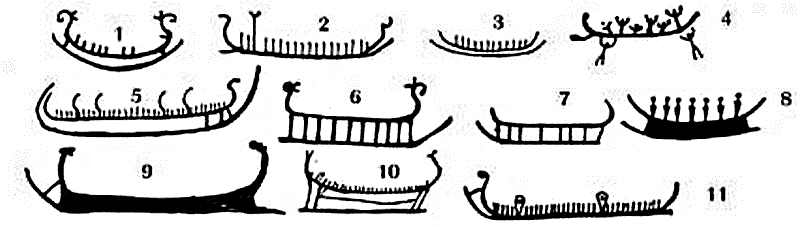 Different types of ships on the petroglyphs