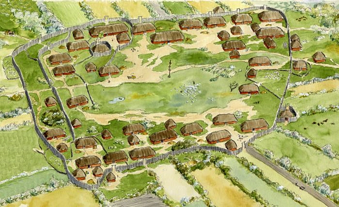 Reconstruction of the Iron Age village Hodde
