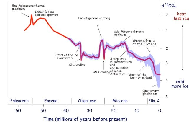 Earth's relative temperatures in Tertiary-time and present