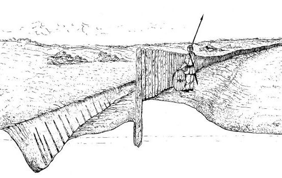 Graphic reconstruction of Trældige as  it originally looked like. Drawing by Svend Aage Knudsen