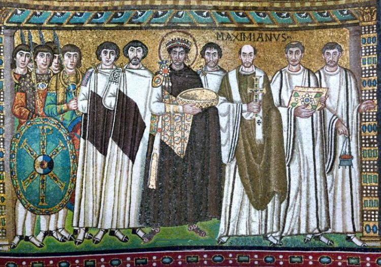 Emperor Justinian and his entourage as mosaic in the Basilica of San Vitale in Ravenna