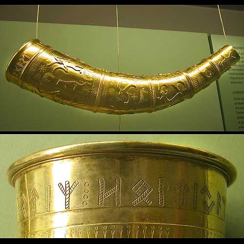 The short gold horn on the  National Museum with close-up of the inscription