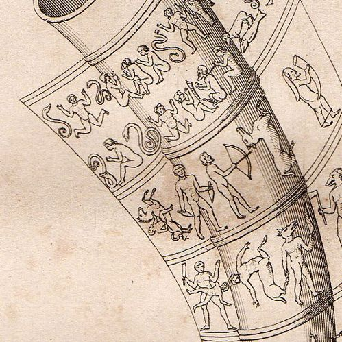 Drawing of figures on the long gold horn