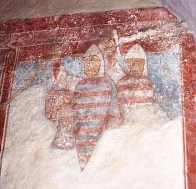 Fresco with warriors in Vellev Church