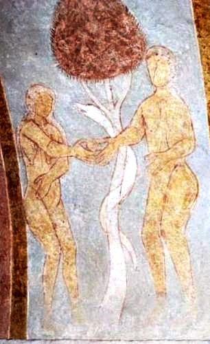 Fresco in RÃ¥sted Church showing Adam and Eve, the snake and the tree.