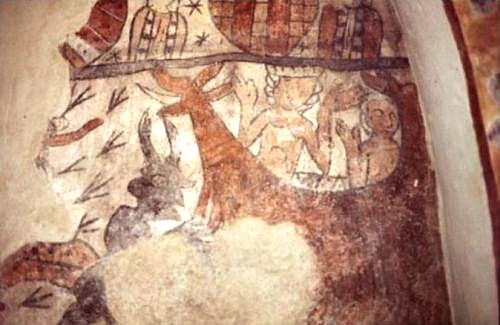 Fresco in Vester Broby Church showing Adam and Eve tempted by the serpent