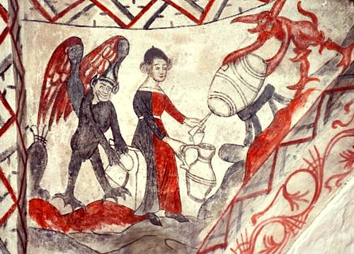 A fresco in Tuse Church which shows that beer brewing is the devil's work