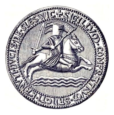Slesvig Sct. Knudsgilde's seal from about 1220.