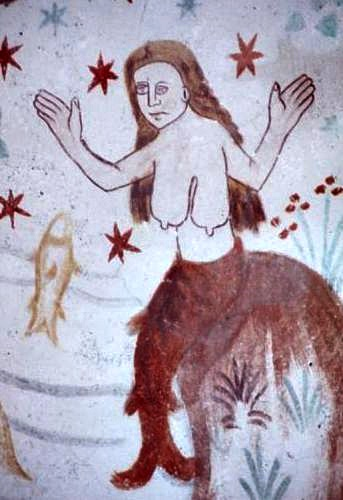 Fresco with mermaid in Fanefjord Church