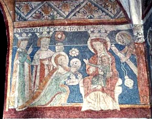 Mural painting of the Holy Three Kings worshiping the baby Jesus