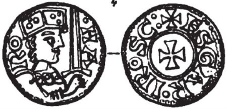 Drawing of coin issued by Harald Hen