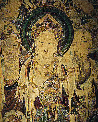Bodisatva with bright hair from Dunhuang Cave 57 - or is it a queen?