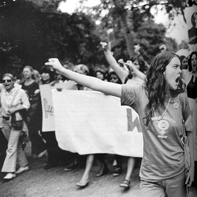 Demonstration for womens' rights around 1970