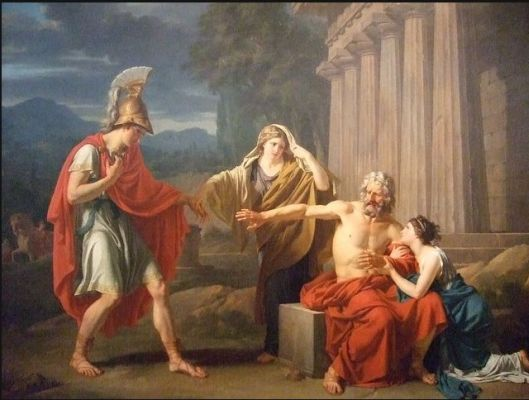 Oedipus at the colonnade - oil painting by Jean-Antoine-Theodore Giroust