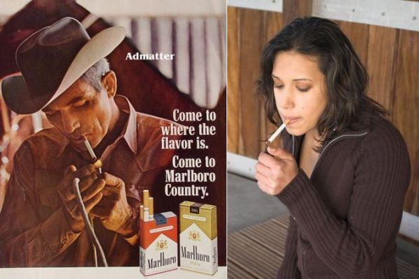 A Marlboro cowboy and a cigaret smoking women
