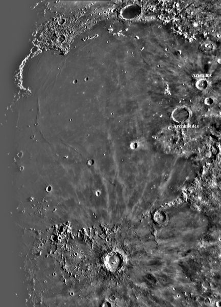 The moon sea Mare Imbrium with crater Plato