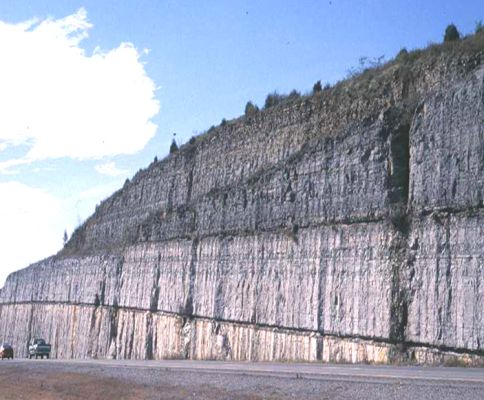 volcanic ash deposits in the Nashville area in central Tennessee