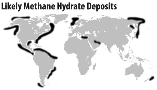 Possible methane hydrate deposits in today's oceans
