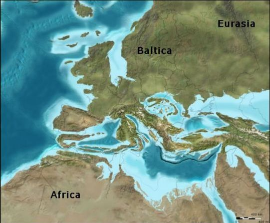 Reconstruction of  Europe in Miocene