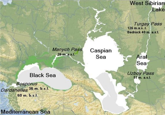 Reconstruction of  drainage in central Eurasia in the late Pleistocene