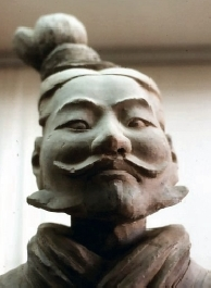 A terracotta soldier with whiskers